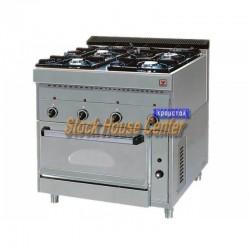 Κουζίνα αερίου με ηλεκτρικό φούρνο