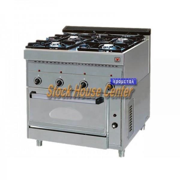 Κουζίνα αερίου με ηλεκτρικό φούρνο EL GAS