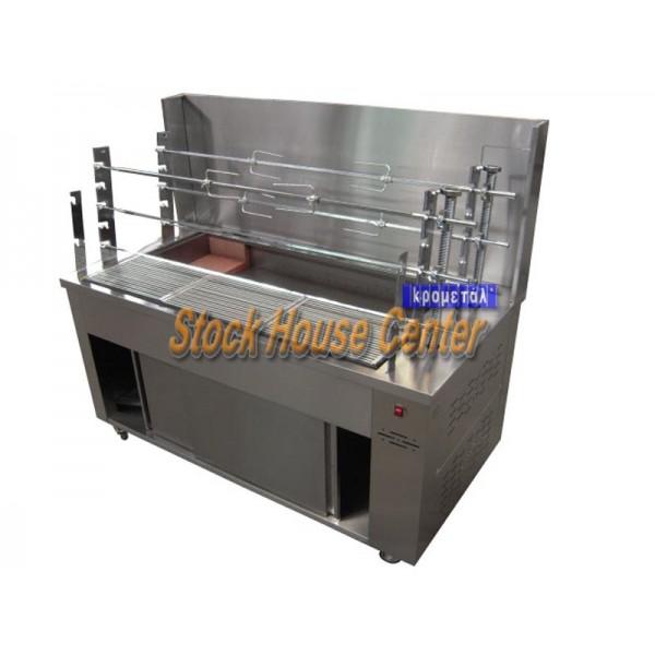 Ψησταριά με κάρβουνο και 6 σούβλες 160x88x160 cm